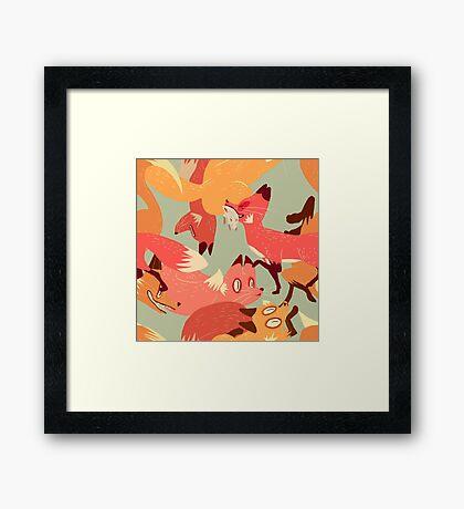 Seamless Fox Pattern Framed Print