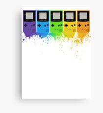 Gameboy Rainbow Tee Canvas Print