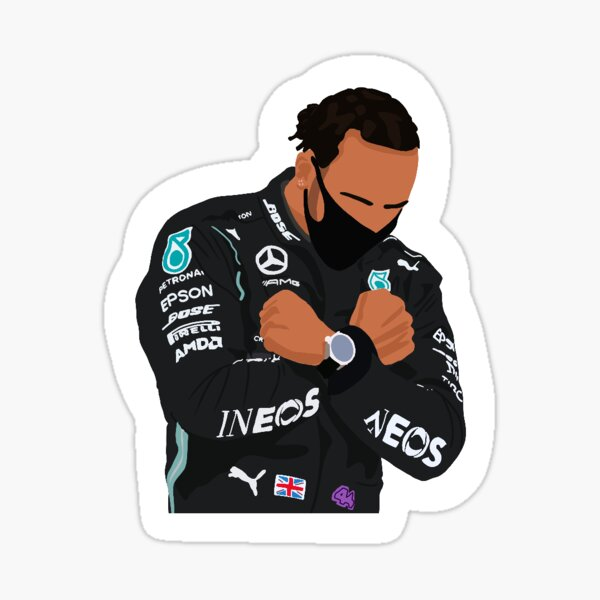 Lewis Hamilton honrando a Chadwick Boseman en el Gran Premio de Bélgica 2020 Pegatina