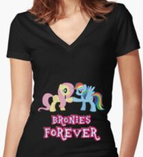 Bronies Forever (No Heart) Women's Fitted V-Neck T-Shirt