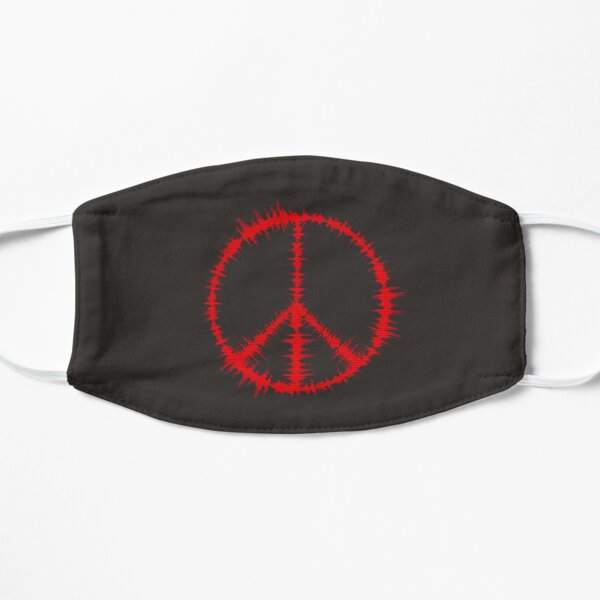 Music wave with peace symbol Flat Mask