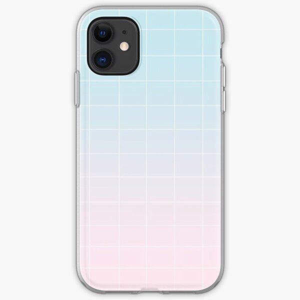 blue-pink grid phone case iPhone Soft Case