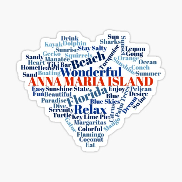 Wordcloud Anna Maria Island Sticker