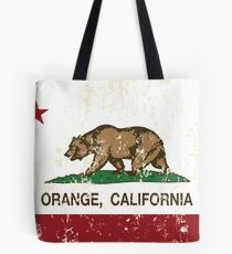 Orange California Republic Flag Distressed Tote Bag