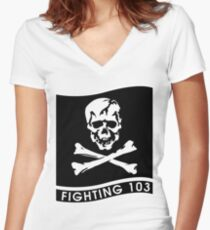 VFA-103 Jolly Rogers Women's Fitted V-Neck T-Shirt