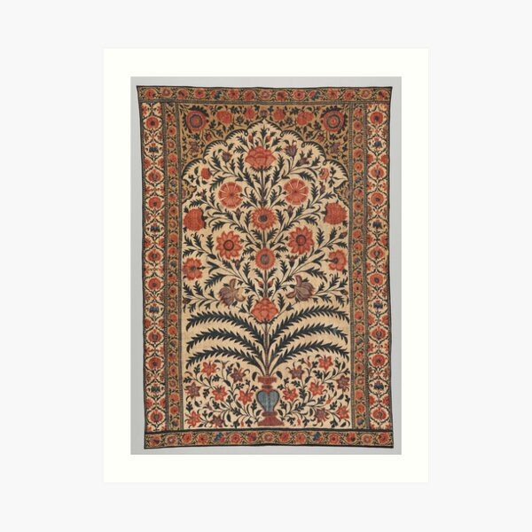 Vintage Panel from a Tent Lining, India 1725–50 Art Print
