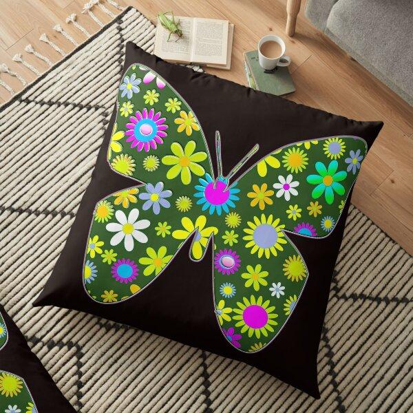 pastel floral folk art motif  Floor Pillow