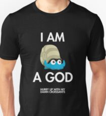 Twitch Plays Pokemon: I Am A God (Featuring Croissants) - Dark with White Text T-Shirt