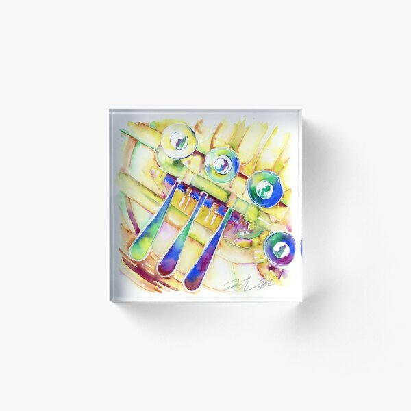 Colorful French Horn Acrylic Block