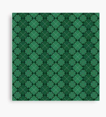 Irish Shamrocks Plaid Pattern Canvas Print