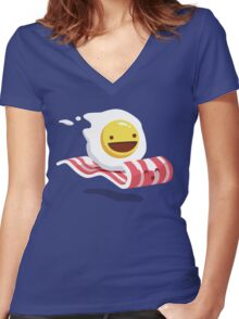 Egg Bacon Buddies Women's Fitted V-Neck T-Shirt