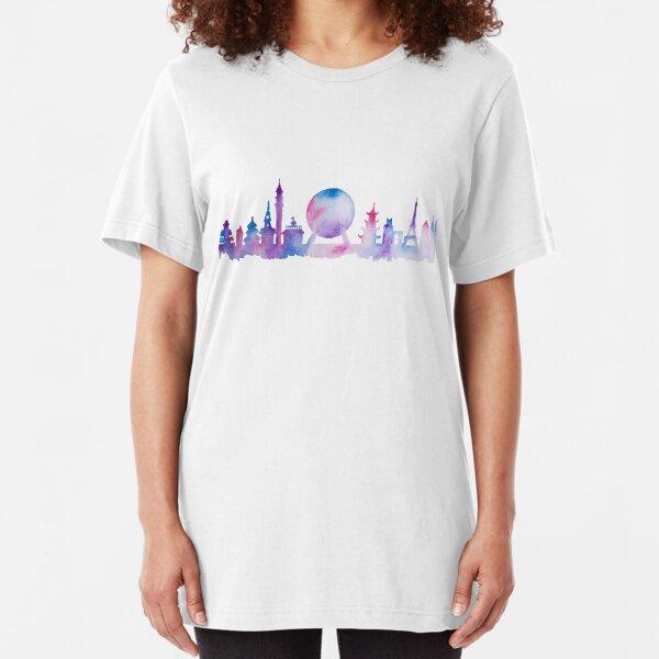 Orlando Future Theme Park Inspired Skyline Silhouette Slim Fit T-Shirt