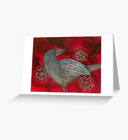 Red Sky and Crow Greeting Card