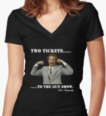 """Anchorman - Ron Bergundy """"Gun Show"""" Women's Fitted V-Neck T-Shirt"""