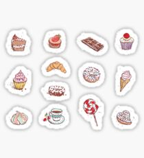 Hand drawn confectionery seamless pattern croissant Cupcake candy marshmallow ice cream cake donut and coffee Sticker