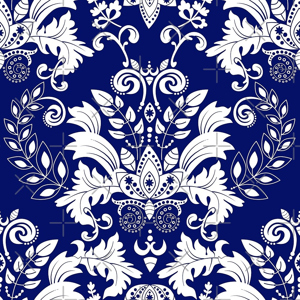 Ornate Blue And White Floral Lacy Damaks Pattern by artonwear