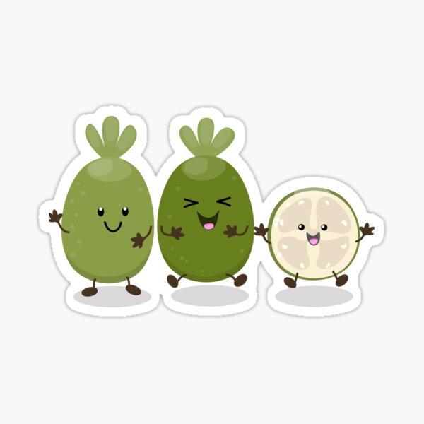 Cute pineapple guava feijoa cartoon illustration Sticker