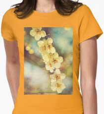 Lovely White Plum Blossoms Vintage Washi Paper Womens Fitted T-Shirt