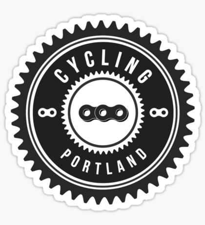 Cycling Portland Black & White Sticker