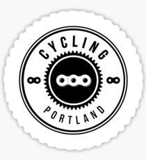 Cycling Portland White & Black Sticker