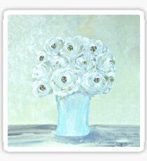 White flowers blue vase still life Sticker