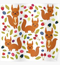 pattern with red squirrel Poster