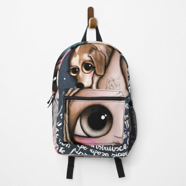 The doll in blue sky and dog around neck Backpack