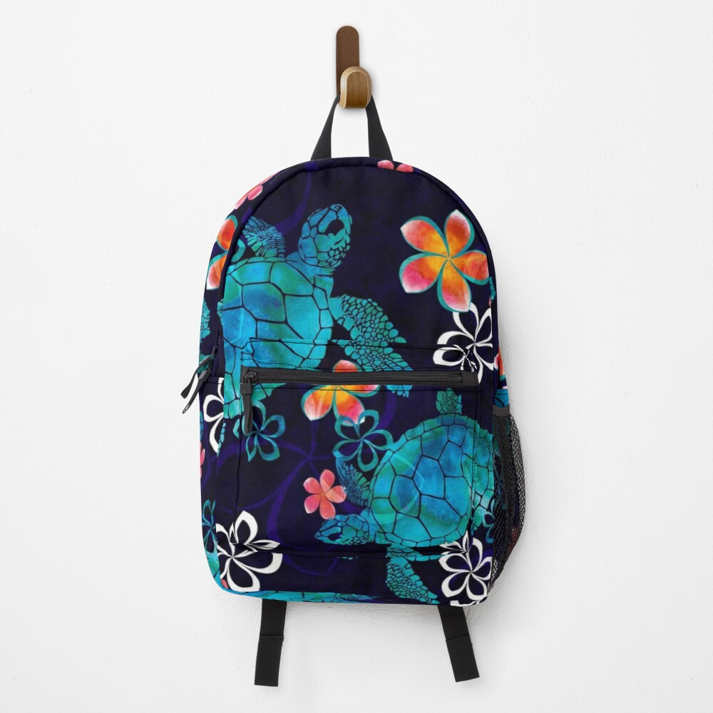Sea Turtle with Flowers Backpack