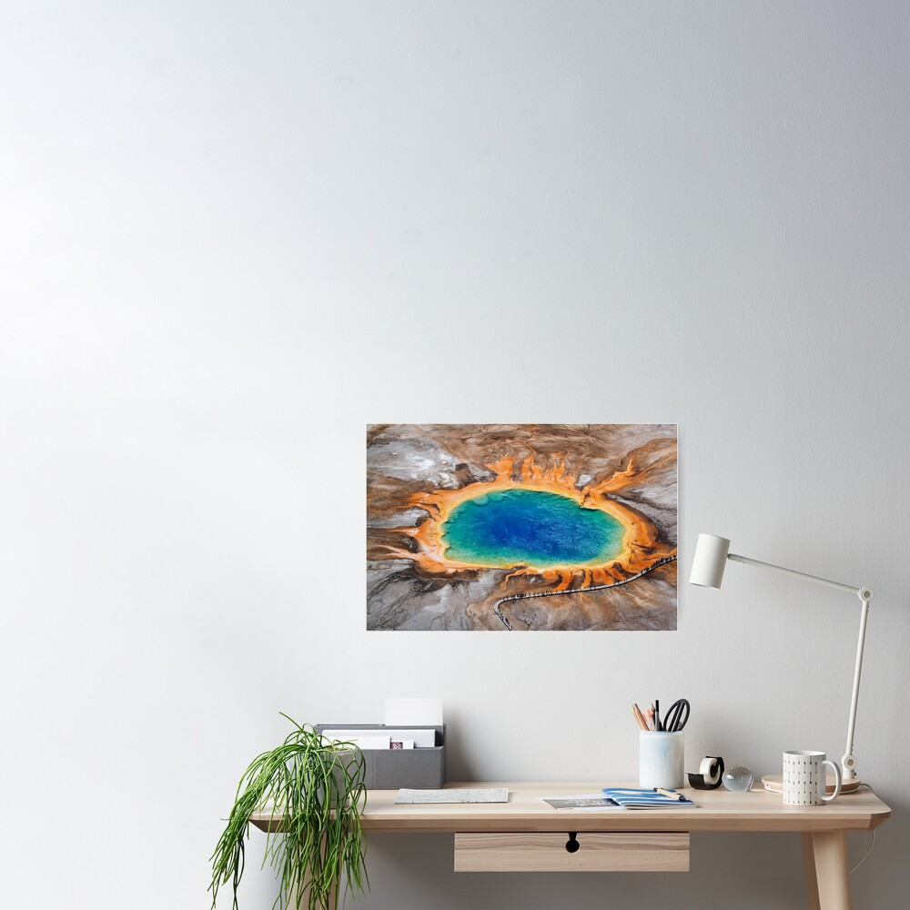 Grand Prismatic Spring - Aerial in Yellowstone Poster