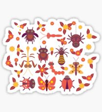 Funny insects Spider butterfly caterpillar dragonfly mantis beetle wasp ladybugs  Sticker