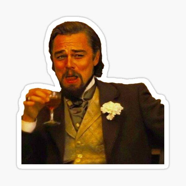 Leonardo DiCaprio Django Riendo Pegatina