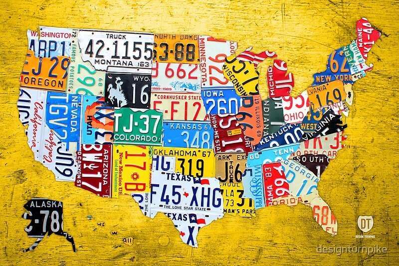 License Plate Map Of The USA Car Tag Number Plate Art On Yellow - Us liscense plate map