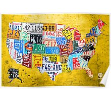 License Plate Map of the USA Car Tag Number Plate Art on Yellow Poster