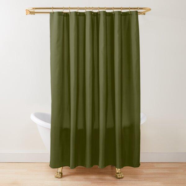 Dark olive textured striped. Shower Curtain