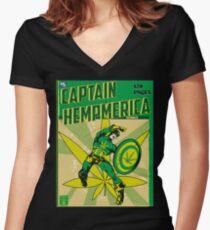 CAPTAIN HEMPMERICA Women's Fitted V-Neck T-Shirt