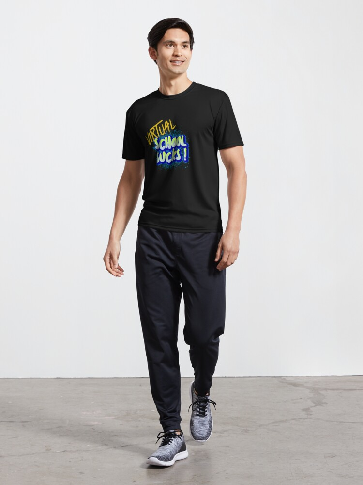 Alternate view of Virtual School Sucks Active T-Shirt