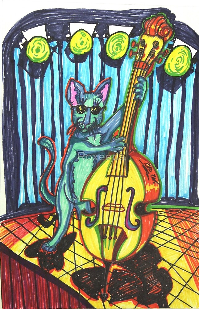 Blue Cat Playing Bass Cello Music by Roxeeda