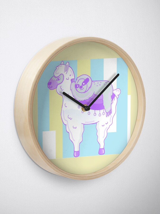 Alternate view of Alpaca & Sloth Best Friends Clock