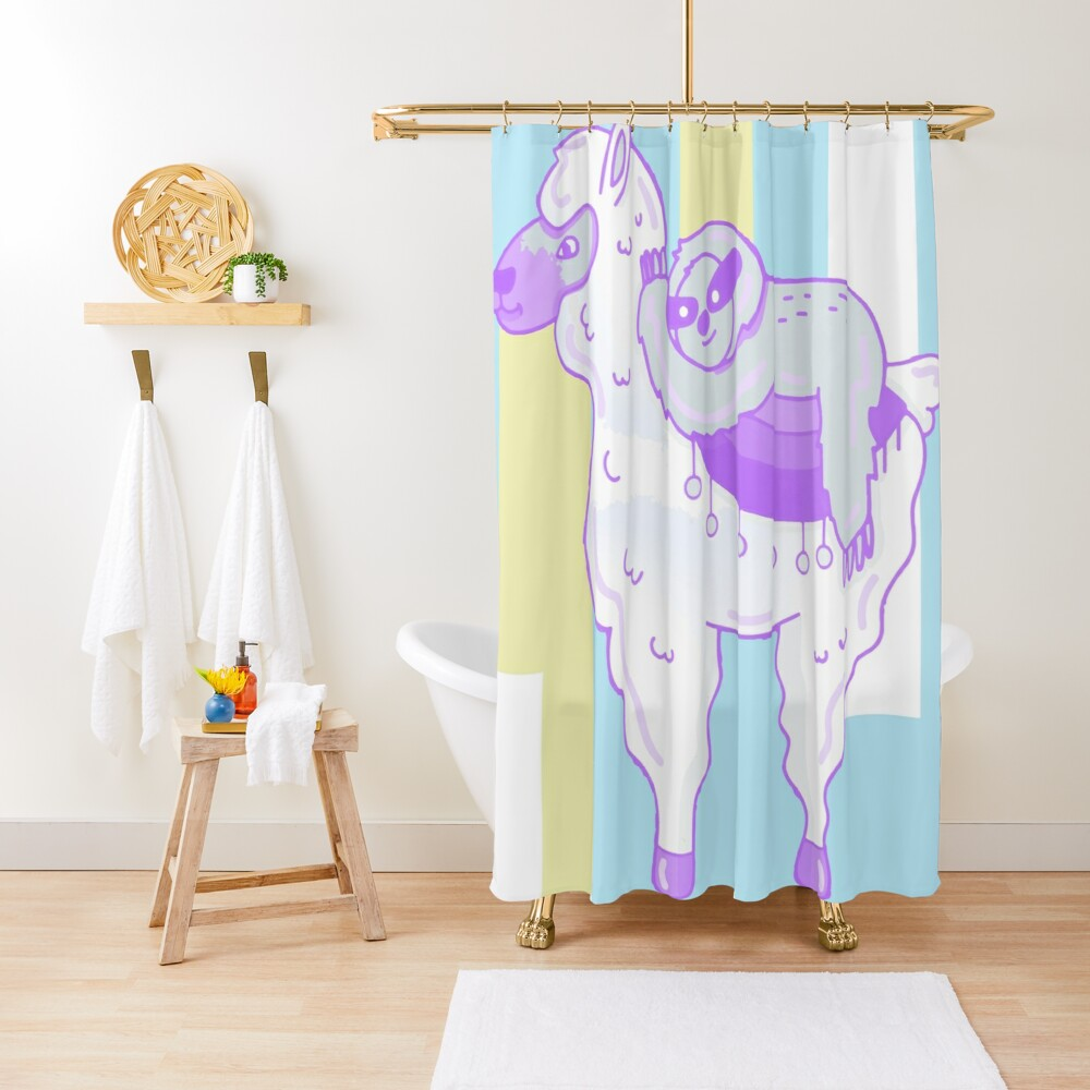 Alpaca & Sloth Best Friends Shower Curtain
