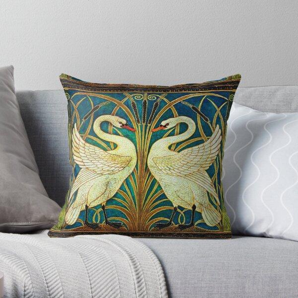 Art Deco Swans Throw Pillow By Emthelrackem Redbubble