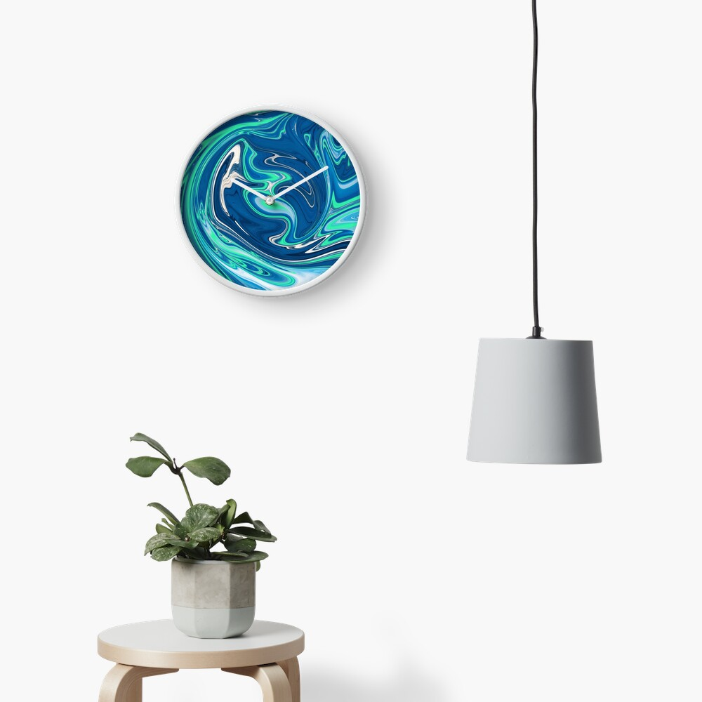 Liquid Paint Blue Clock