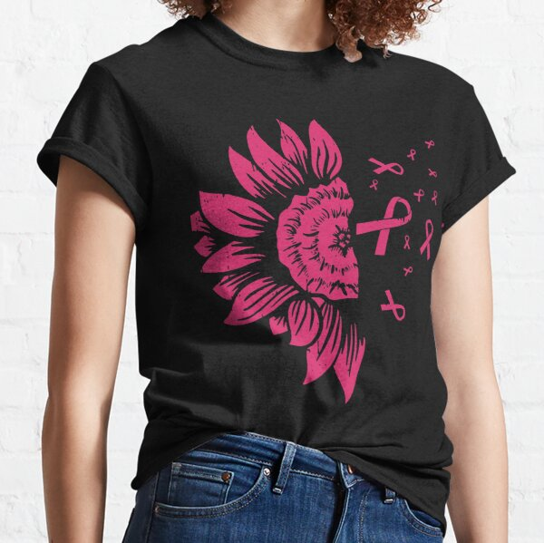 Sunflower Pink Ribbon Breast Cancer Awareness Gift Classic T-Shirt