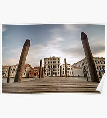 Venice Docks with Canals of Venice Italy Poster