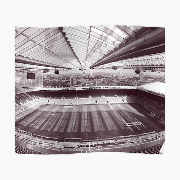 Newcastle United Football Club Vintage Black & White Photography Poster