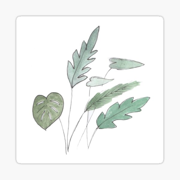 Green leaves in watercolor Sticker