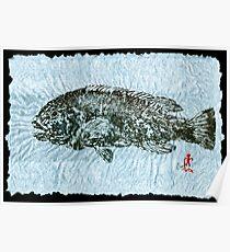 Gyotaku Tautog on Rice Paper w Black Border Poster