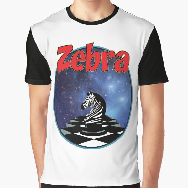 Zebra chess piece on chessboard in outer space  Graphic T-Shirt