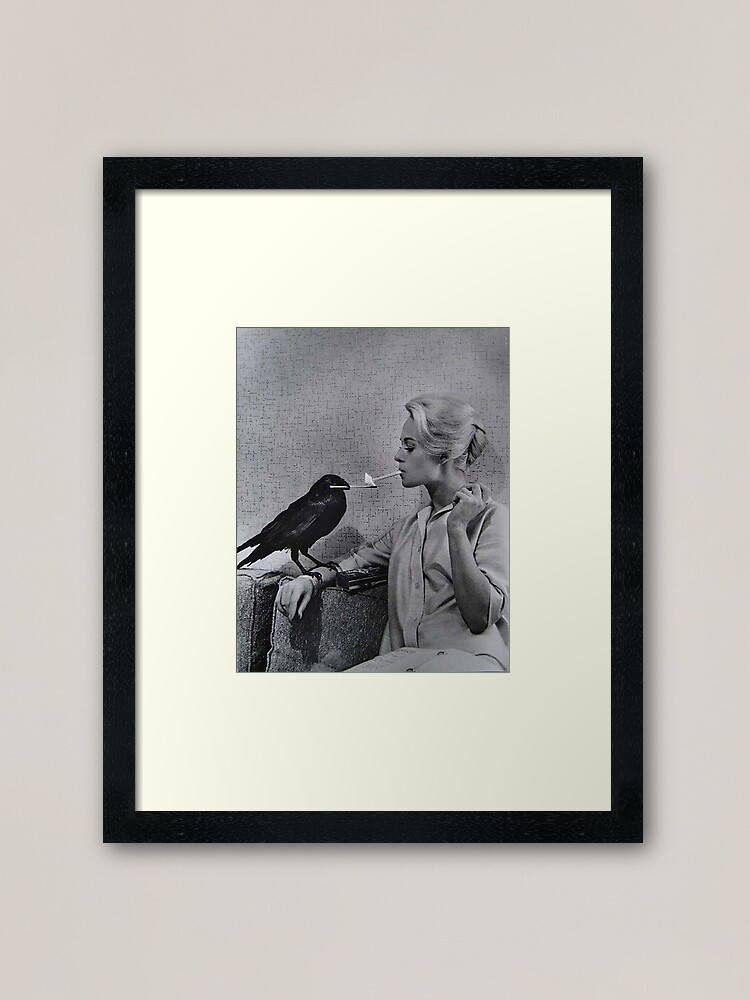 Alternate view of Tippi Hedren having her cigarette lit by a crow on the set of The Birds Framed Art Print