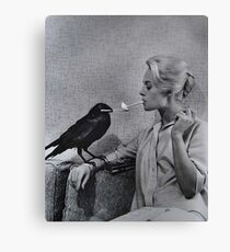 Tippi Hedren having her cigarette lit by a crow on the set of The Birds Canvas Print