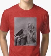 Tippi Hedren having her cigarette lit by a crow on the set of The Birds Tri-blend T-Shirt